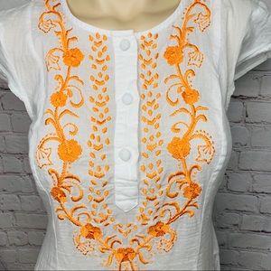 eshakti Dresses - ESHAKTI White Boho Dress Floral Embroidery NWOT!